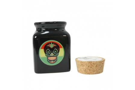 Ceramic Jar - Black - Rasta Skull Candy - 150ml (Box of 4 units)