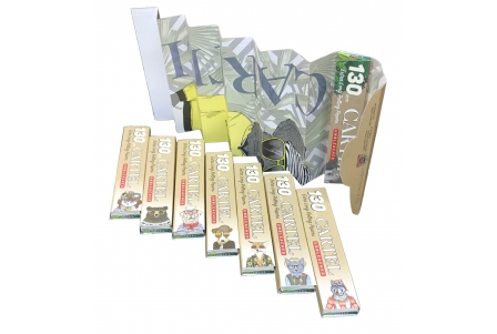 CARTEL Rolling Papers Extra Long 130mm Unbleached + Tips (Display of 24)