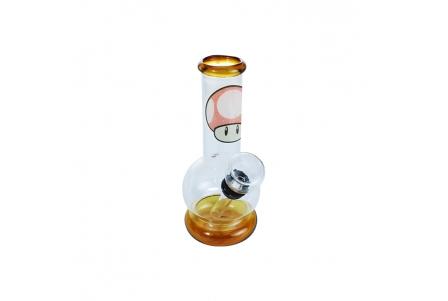 Mini Bubble Bong 12.5cm - Mushroom Amber