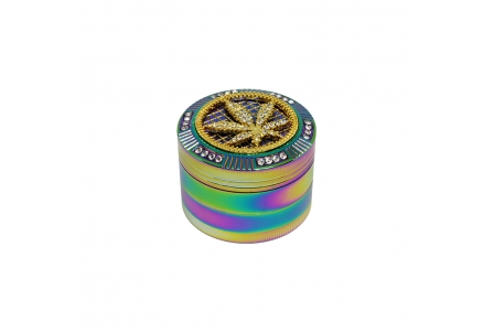 4 Part Bling Bling Rainbow Grinder 50x40mm - Leaf