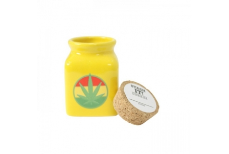 Yellow Ceramic Jar Rasta Leaf 150ml - Box of 4