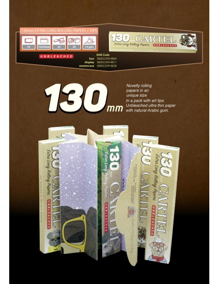 Rolling Papers CARTEL Extra Long 130 mm + Tips Unbleached (24 in a display)