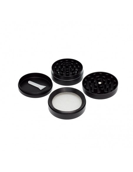 4 Part Bling Bling Black Grinder 50x40mm - Leaf