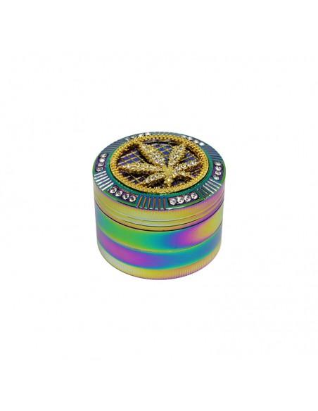 4 Part Bling Bling Rainbow Grinder 50x40mm - Leaf