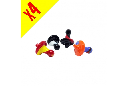 Airflow Mixed Colours Glass Cap - Pack of 4