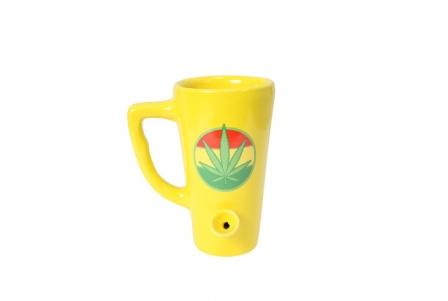 Bong Mug - Yellow Rasta Leaf