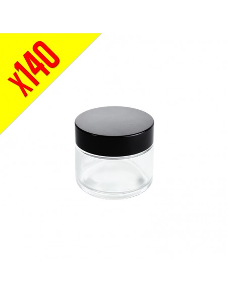 Glass Container with Black Cap 50ml - Bulk Box 140 units